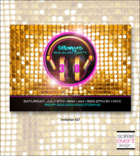 """Rockin' 80's Glam"" Invitations"