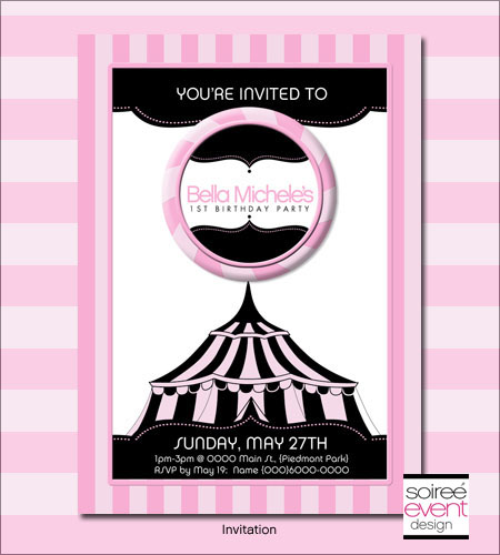 """Girly Circus!""© 5x7 Invitation"