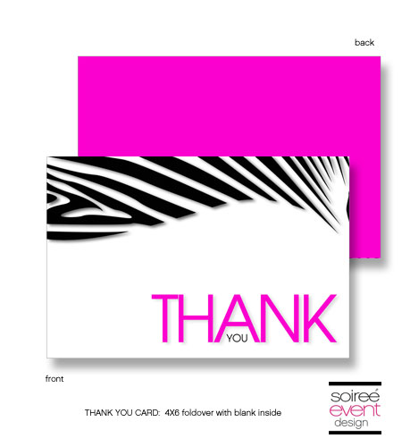 """Safarilicious"" Zebra Glam Thank You Cards"
