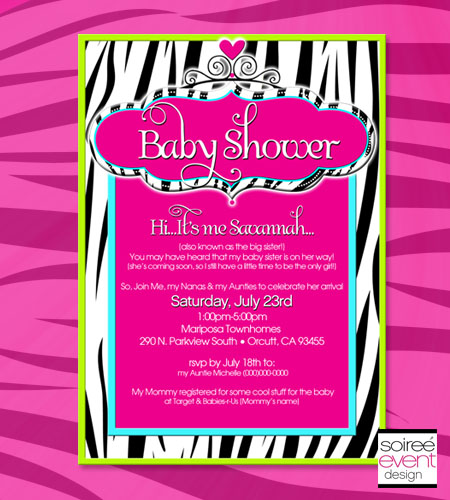 """Zebra Glam Baby"" Invitation"